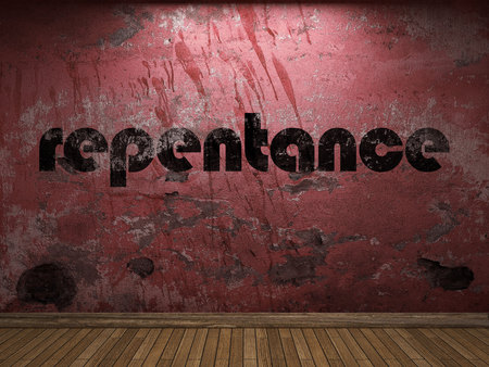 arrepentimiento: palabra arrepentimiento en la pared roja