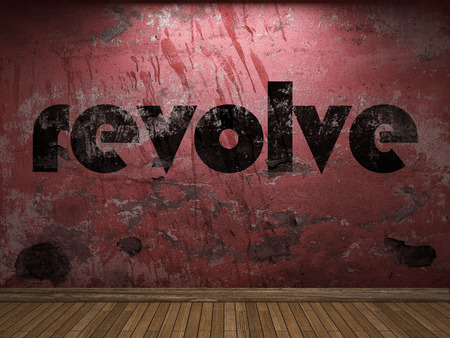 revolve: revolve word on red wall