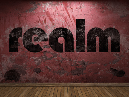 realm: realm word on red wall Stock Photo