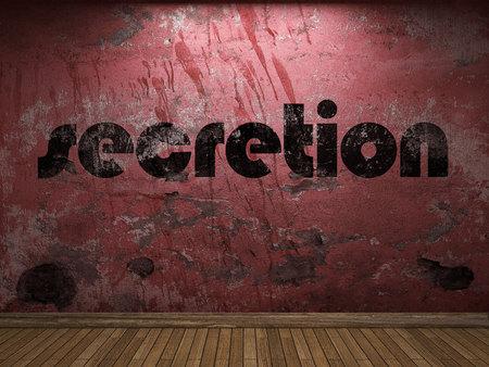 secretion: secretion word on red wall