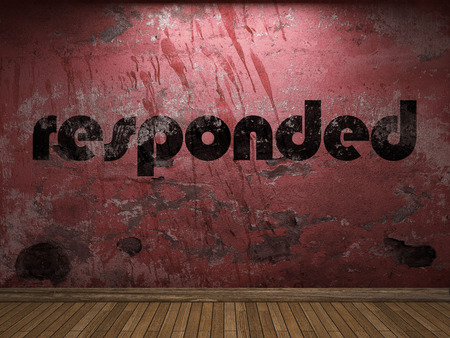 responded: responded word on red wall Stock Photo
