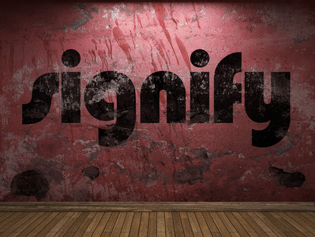 signify: signify word on red wall Stock Photo
