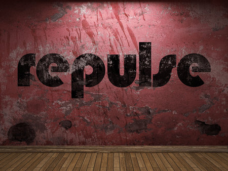repulse: repulse word on red wall Stock Photo