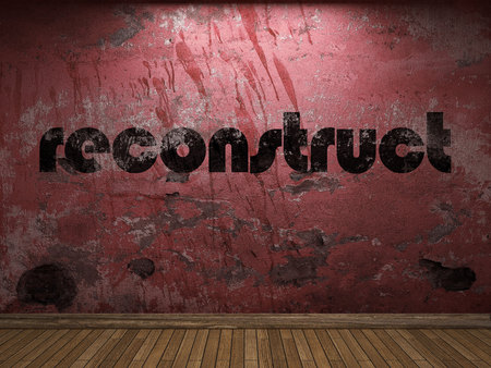 reconstruct: reconstruct word on red wall