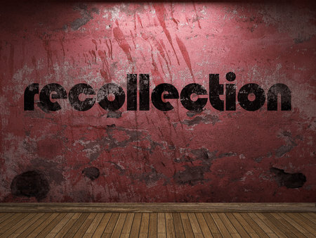 recollection: recollection word on red wall Stock Photo