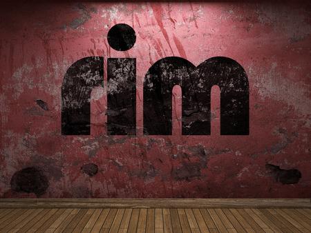 rim: rim word on red wall