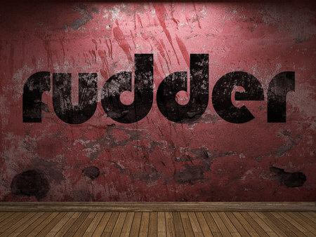 ruder: Ruder Wort auf roter Wand