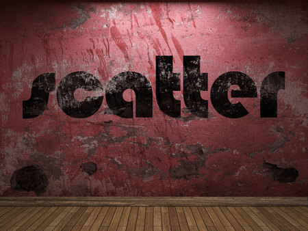 scatter: scatter word on red wall Stock Photo