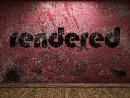 rendered: rendered word on red wall