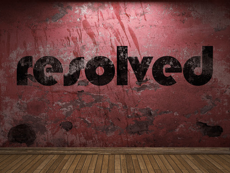 resolved: resolved word on red wall