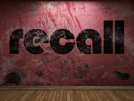 recall: recall word on red wall Stock Photo