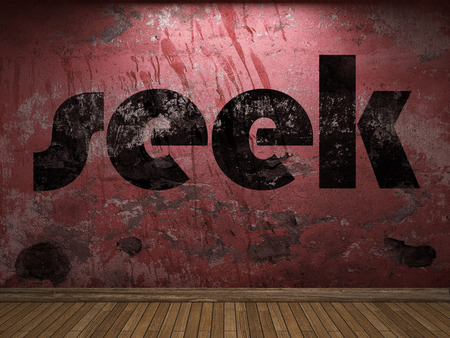 seek: seek word on red wall
