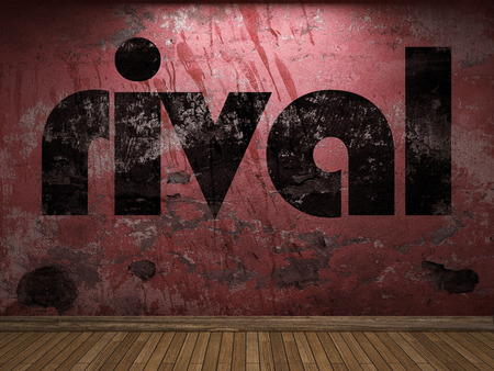 rival: rival word on red wall