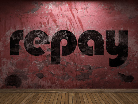 repay: repay word on red wall