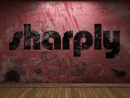sharply: sharply word on red wall Stock Photo