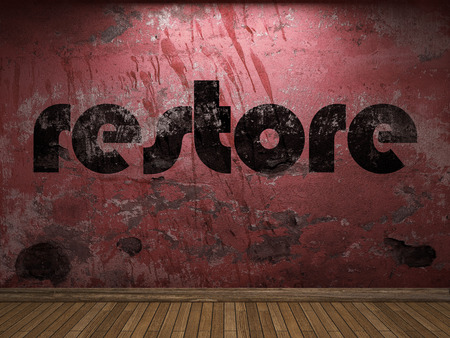 restore: restore word on red wall