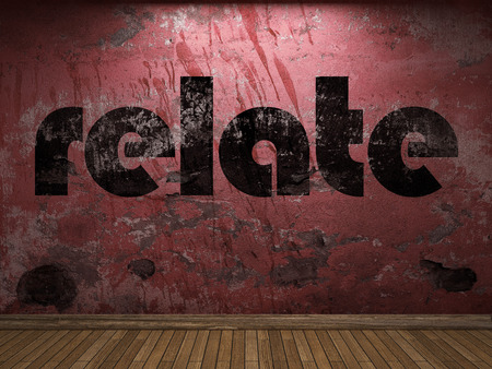 relate: relate word on red wall