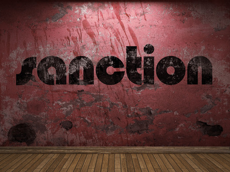 sanction: sanction word on red wall Stock Photo