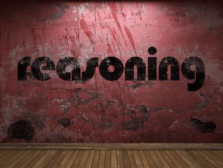 reasoning: reasoning word on red wall