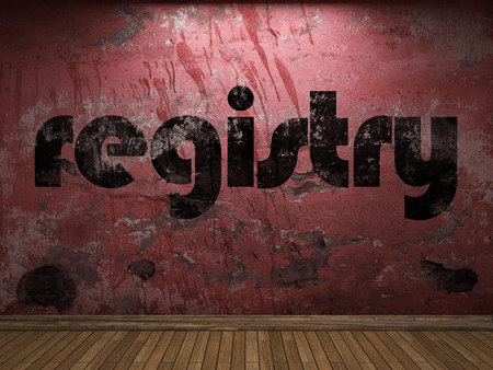 registry: registry word on red wall Stock Photo