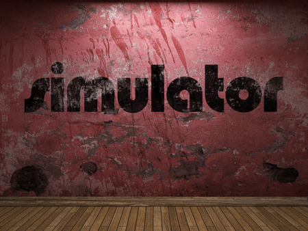 simulator: simulator word on red wall