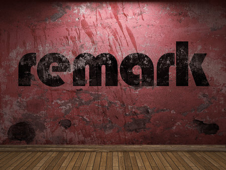 remark: remark word on red wall