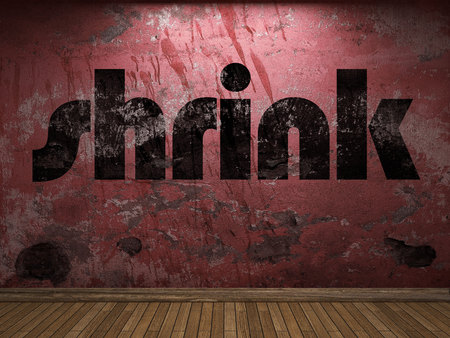shrink: shrink word on red wall Stock Photo