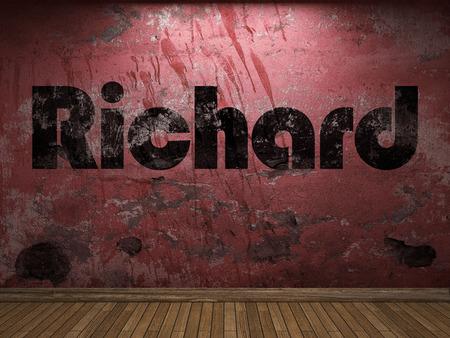 richard: Richard word on red wall Stock Photo