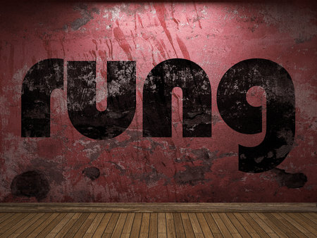 rung: rung word on red wall Stock Photo