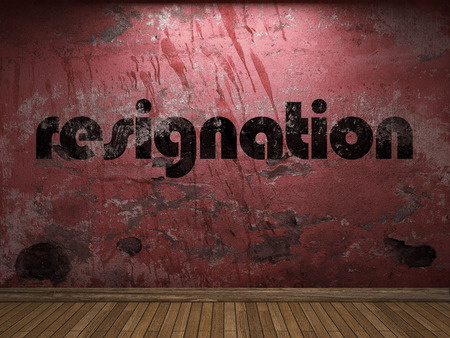 resignation: resignation word on red wall