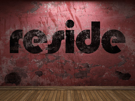 reside: reside word on red wall