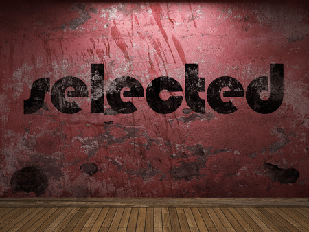 selected: selected word on red wall
