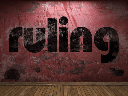 ruling: ruling word on red wall
