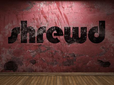 shrewd: shrewd word on red wall