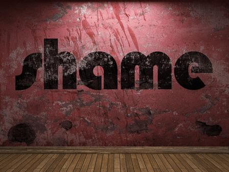mot de la honte sur le mur rouge Banque d'images