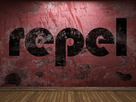 repel: repel word on red wall Stock Photo