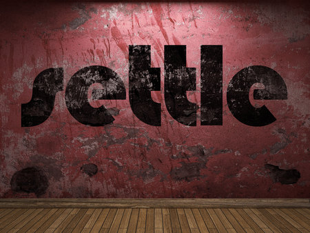 settle: settle word on red wall