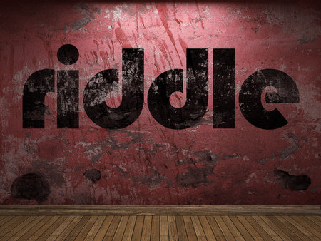 riddle: riddle word on red wall Stock Photo