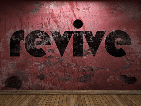 revive: revive word on red wall