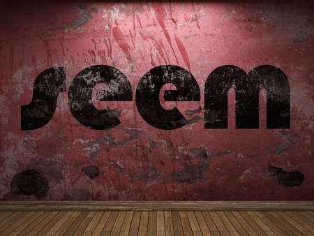 to seem: seem word on red wall Stock Photo