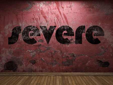 severe: severe word on red wall Stock Photo