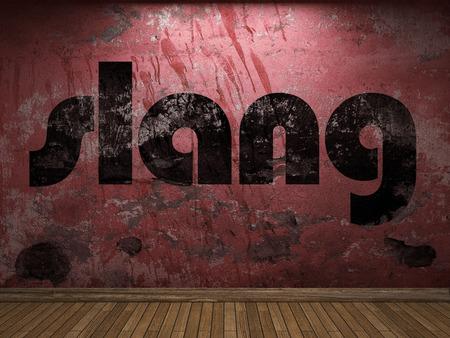 slang: slang word on red wall