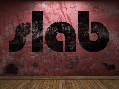 slab: slab word on red wall Stock Photo