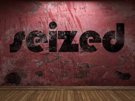 seized: seized word on red wall