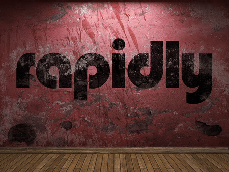 rapidly: rapidly word on red wall