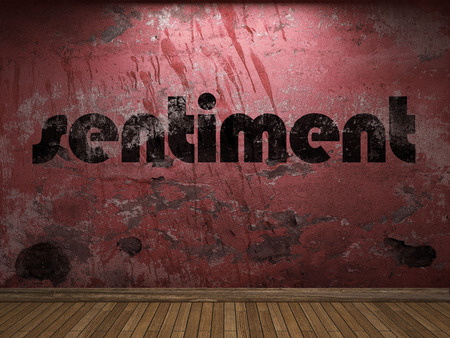 sentiment: sentiment word on red wall