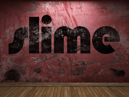 slime: slime word on red wall