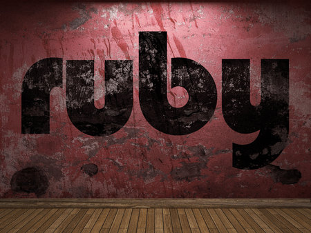 ruby word on red wall Banco de Imagens