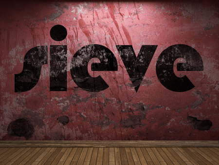 sieve: sieve word on red wall Stock Photo