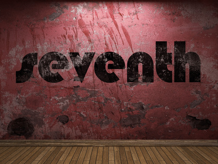 seventh: seventh word on red wall